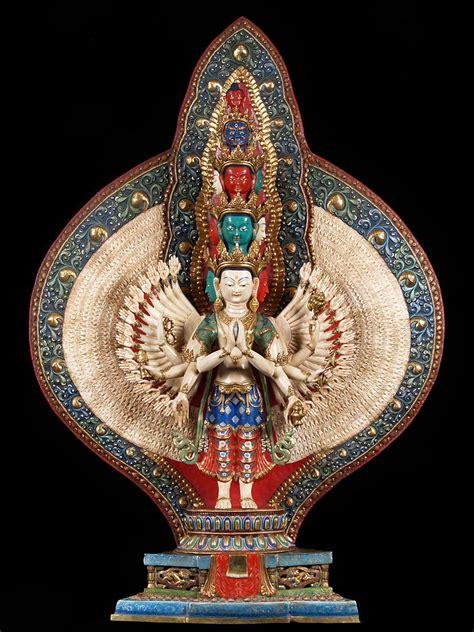 hand painted copper avalokiteshvara buddhist statue