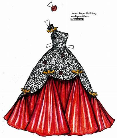 Lace Ballgown Gold Ball Paper Satin Drawing