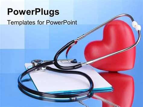 powerpoint template medical stethoscope  clipboard