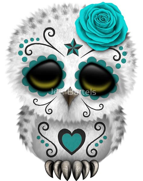 sugar skull wall quot teal blue day of the dead sugar skull owl quot stickers