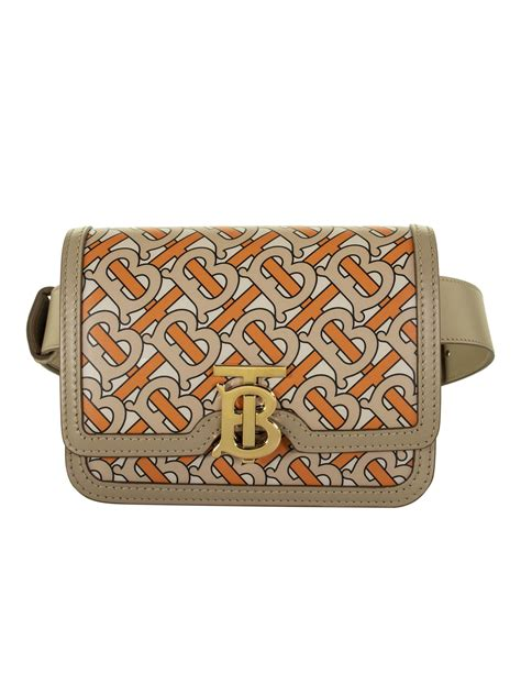 burberry burberry belted monogram print leather tb bag