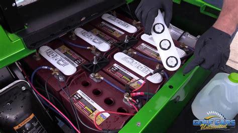 fill  electric golf car batteries golf cart maintenance youtube