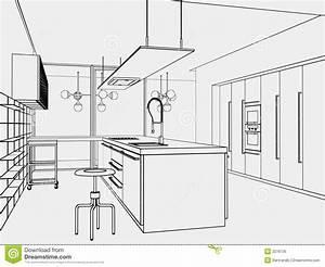 Kitchen toon-style stock illustration. Illustration of ...
