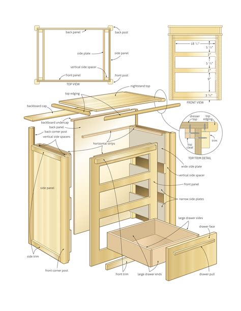 wooden nightstand wood project plans  plans