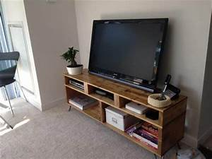 solid pallet wood tv stand with hairpin legs 101 pallets With homemade tv furniture