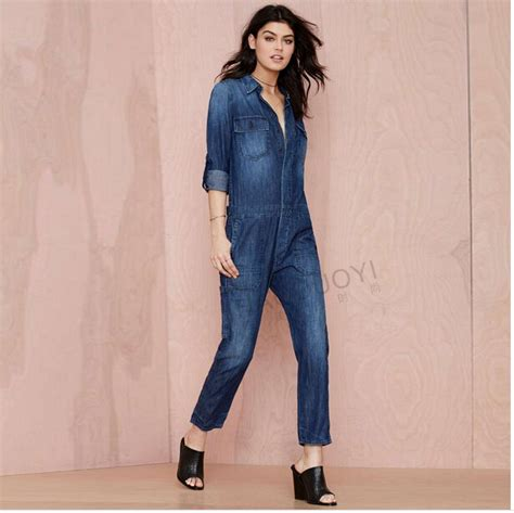 Sexy Rompers womens jumpsuit overalls for women Fashion Long sleeve Denim Jumpsuit Ladies denim ...
