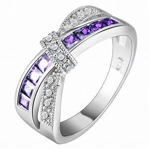 cross finger ring for lady paved cz zircon luxury hot With purple wedding rings for women