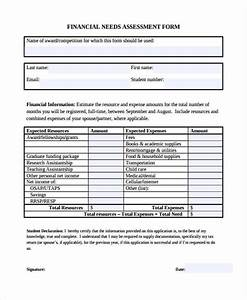needs assessment form template With financial assessment template
