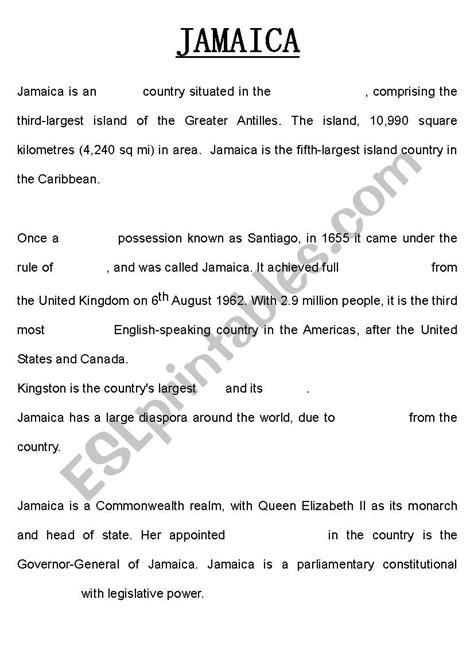 jamaica summary esl worksheet  kaths