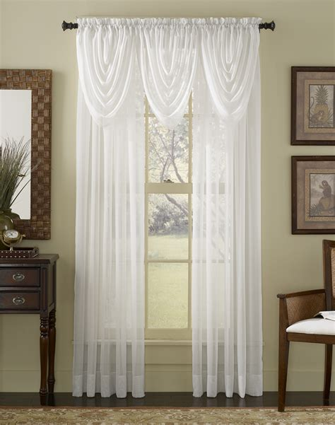 Swag Curtains For Living Room by Platinum Voile Flowing Sheer Waterfall Valance