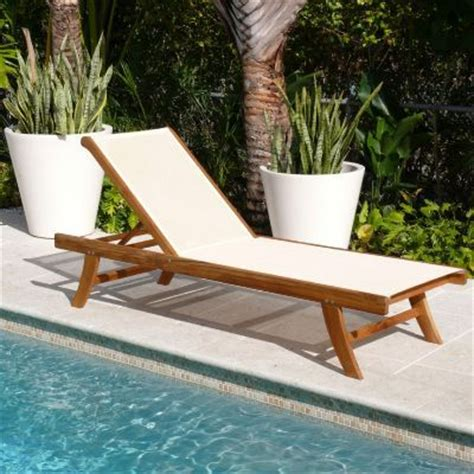 teak outdoor chaise lounge  ivory mesh sling wood