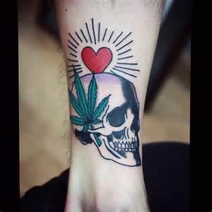 Skull Weed Leaf Tattoo Designs