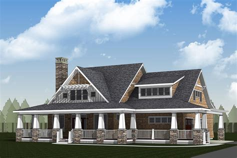storybook country house plan  sturdy porch