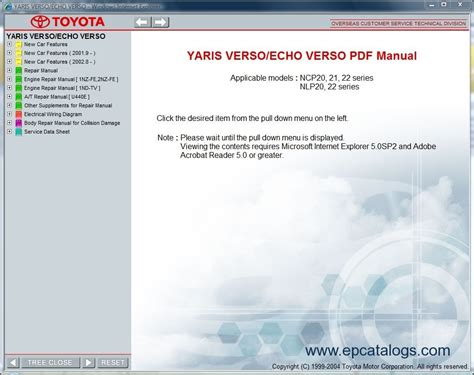 toyota yaris verso echo verso repair manual cars repair manuals