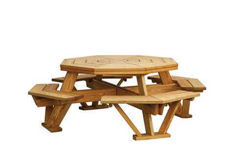 unfinished picnic tables for sale amish pine octagon picnic table with benches
