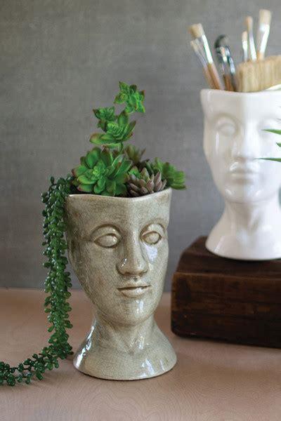 ceramic head planter grey
