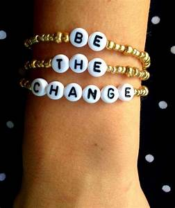 be the change gold bead personalized alphabet bracelet With gold letter beads for bracelets