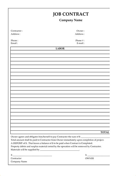contractor contract template cheetah template your hogwarts for printables