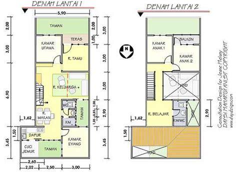 contoh denah rumah minimalis  lantai type  gambar