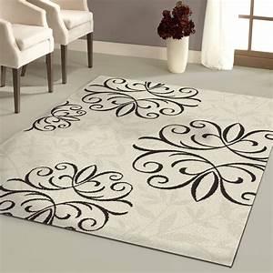 Damask area rug black and white roselawnlutheran for Inspiration ideas for black and white rug