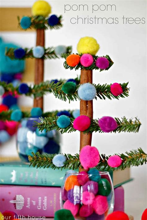 colorful bliss christmas craft ideas   pom poms