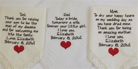 mother father embroidered wedding hankerchiefs gift poem