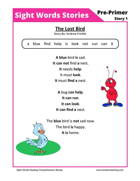 The Lost Bird Pre Primer Sight Words Reading Comprehension