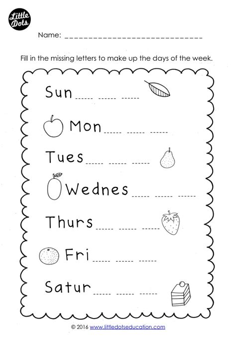 free days of the week worksheet fill in the missing