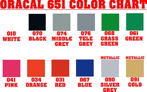 oracal 651 color chart about our decals