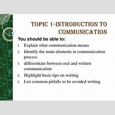 Topic 1 Introduction To Communication