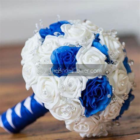 royal blue  white wedding bouquet  crystals bridal