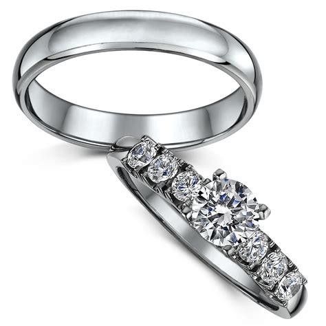Titanium Solitaire Engagement & Wedding Ring Set  Bridal