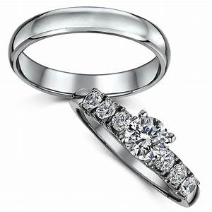 titanium solitaire engagement wedding ring set bridal With titanium wedding rings