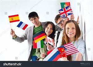 Group Cheerful Happy Students Holding International Imagen ...