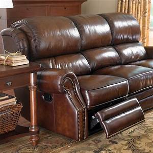 the leather newbury motion sofa by bassett furniture With leather sectional sofa bassett
