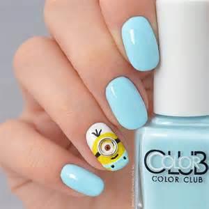 Blue nails cute fashion girly minion nail art