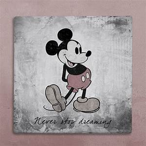 Disney wall art canvas in vintage style, Mickey Mouse art ...