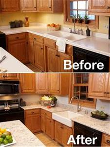 Kitchen before and after with the Whitehaven apron-front sink
