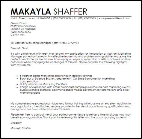 assistant marketing manager cover letter sle livecareer
