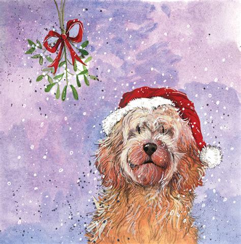 christmas cockapoo dog christmas pack alex clark art
