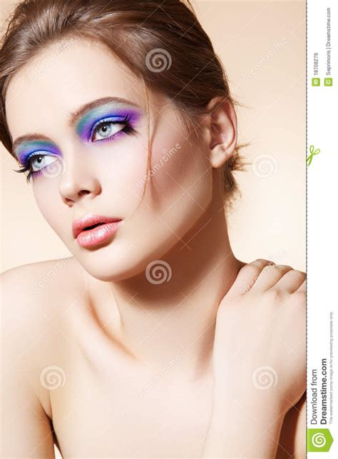 Beautiful Model Face With Bright Fashion Make-up Royalty