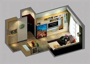 Small house interior design with aquarium