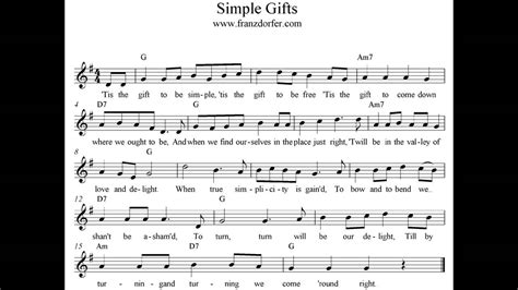 Simple Gifts  Instrumental Youtube