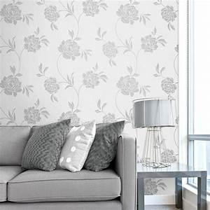 Fine Decor Torino Floral Wallpaper White / Silver (FD40190 ...