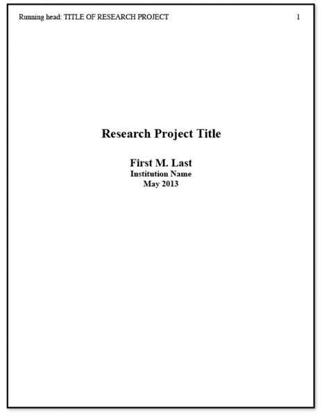 Apa Cover Page Template Psychology Student Title Captures Apa Title Page Exle 2 Goodies Sle