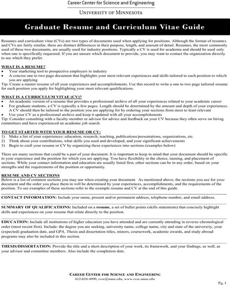Cv Guide by Graduate Resume And Curriculum Vitae Guide For