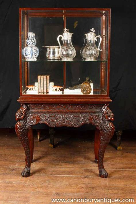 antique collectors display cabinet chinese chippendale