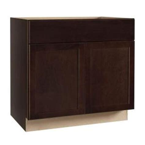 hampton bay shaker assembled xx  sink base kitchen cabinet  java ksb sjm