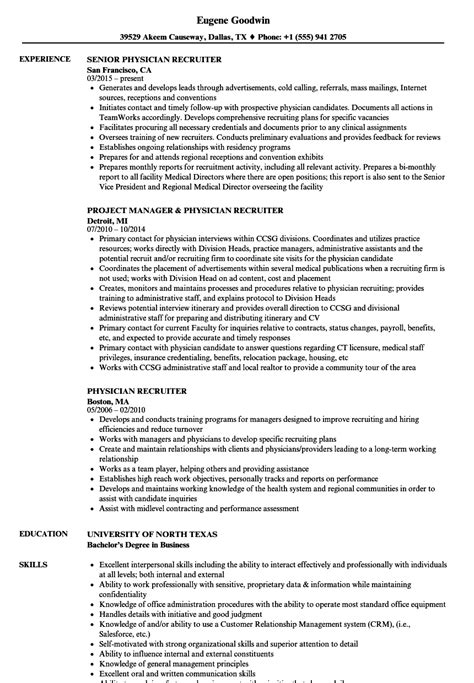 Physician Recruiter Resume Sample Example Good Resume Template