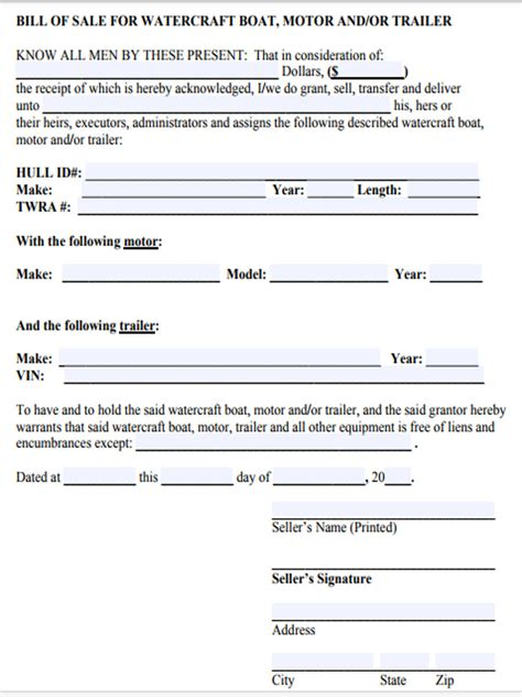 Boat Bill Of Sale Images by Watercraft Bill Of Sale Form 5 Free Documents In Word Pdf